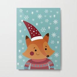 Xmas fox Metal Print