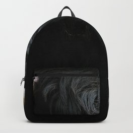 Minimalist Black Scottish Highland Cattle Portrait - Animal Photography Backpack