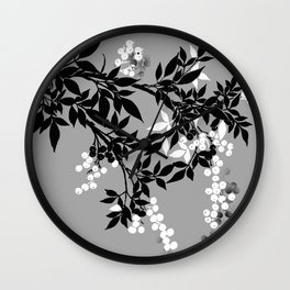 TREE BRANCHES  LEAVES GRAY AND WHITE AND BLACK AND WHITE BERRIES Wall Clock