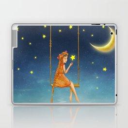The lovely girl shakes on a swing , illustration art Laptop & iPad Skin
