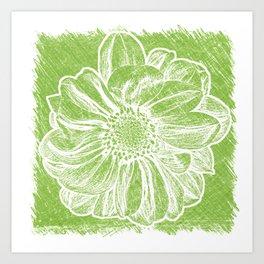 White Flower On Lime Green Crayon Art Print
