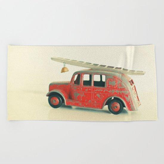 Red Fire Engine Beach Towel