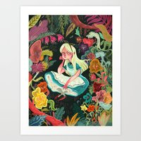 garden Art Prints featuring Alice in Wonderland by Karl James Mountford
