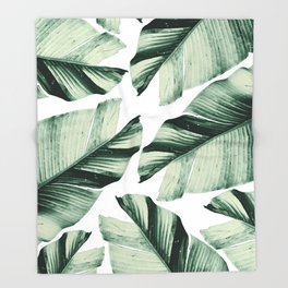 Tropical Banana Leaves Vibes #1 #foliage #decor #art #society6 Throw Blanket
