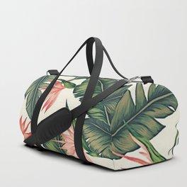 Palm Leaf & Flower Print Duffle Bag