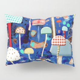 Blue Mushrooms - Zu hause Marine blue Abstract Art Pillow Sham