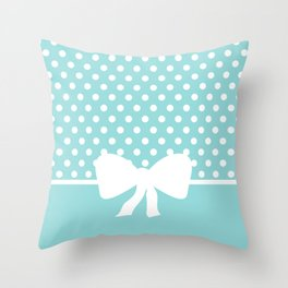 Dots dip-dye pattern with cute bow in light blue Throw Pillow