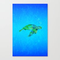 sea turtle Canvas Prints featuring Sea Turtle  by MacDonald Creative Studios