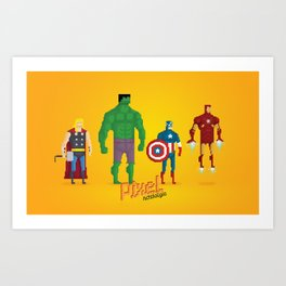 Super Heroes - Pixel Nostalgia Art Print