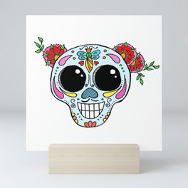 Sugar skull with flowers and bee Mini Art Print