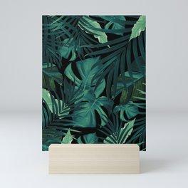 Tropical Jungle Night Leaves Pattern #1 #tropical #decor #art #society6 Mini Art Print