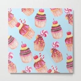 Cupcakes Pattern Cute Sweet Tooth Pink Colorful Blue Background Metal Print