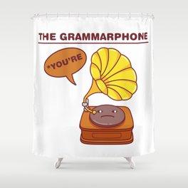 The Grammarphone - Funny Gramophone Wordplay Shower Curtain