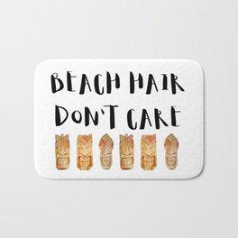 Beach Hair Don't Care - tiki watercolor Bath Mat