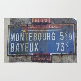 "Vintage Road Sign Touring club de France ""Bayeux - Montebourg"" Normandy Rug"