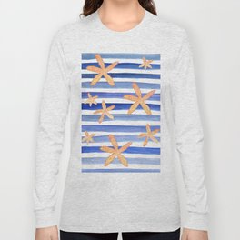Starfish on blue stripes watercolor design Long Sleeve T-shirt