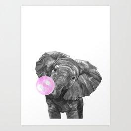 Bubble Gum Elephant Black and White Art Print
