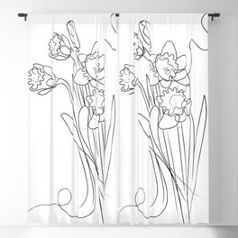 Daffodils Line Drawing Blackout Curtain