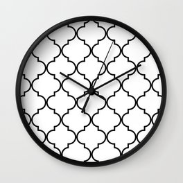 Quatrefoil - black on white Wall Clock