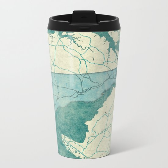Delaware State Map Blue Vintage Metal Travel Mug