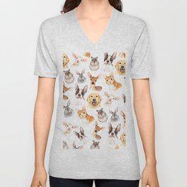 Watercolor brown black golden hand painted animals Unisex V-Neck