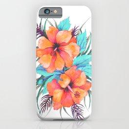 TROPICAL FLOWER {orange hibiscus}  iPhone Case