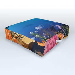Beautiful Coral Reef Animals Outdoor Floor Cushion