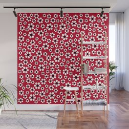 Dizzy Daisies - Red 2 - more colors Wall Mural