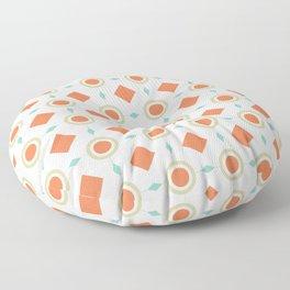 Retro Geometric Pattern Mid Century Modern Circles and Diamonds Floor Pillow