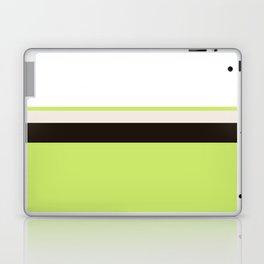 Modern Lime Green Color Block Gray Stripes White Laptop & iPad Skin