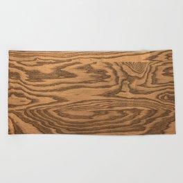 Wood 5, heavily grained wood Horizontal grain Beach Towel
