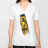 senna V-neck T-shirts featuring McLaren MP4 12C by Michele Leonello