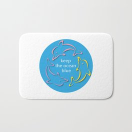 Keep the Ocean Blue_Dolphins rotating Bath Mat