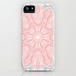 MANDALA IN GREY AND PINK iPhone Case