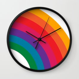 Retro Bright Rainbow - Right Side Wall Clock