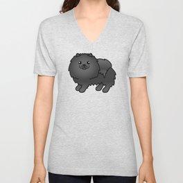 Black Pomeranian Dog Cute Cartoon Illustration Unisex V-Neck
