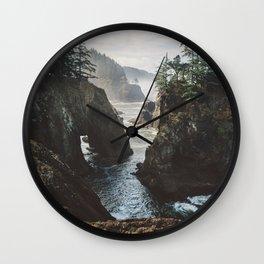 Misty Oregon Coast Wall Clock