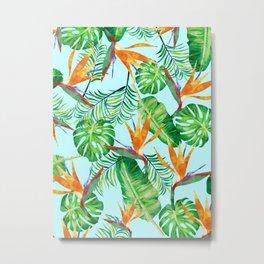 Tropical Illustrtion Pattern Metal Print