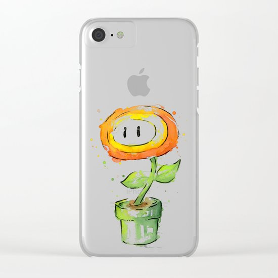 Fireflower Watercolor Painting Clear iPhone Case