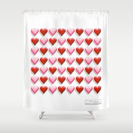 Heart WAVE red Shower Curtain