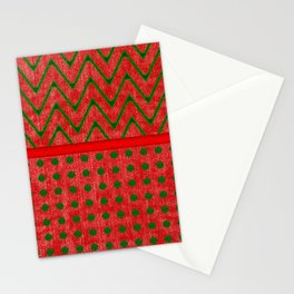 Yuletide Green and Red Polkas and Zig Zag Pattern Stationery Cards