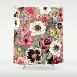 Boho Flowers Pattern Shower Curtain