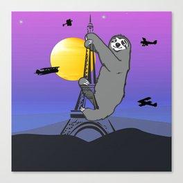 Sloth Claim The Eiffel Tower Canvas Print