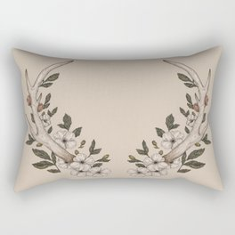 Floral Antler Rectangular Pillow