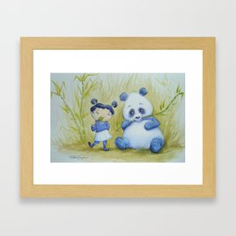 """Panda Pal Pleasantries"" Framed Art Print"