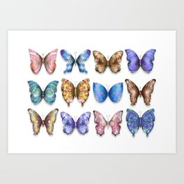 Butterfly Taxidermy 3 // Beautiful Mandala Detailed Wings Design // Gold, Orange, Blue, Purple Art Print