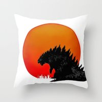 godzilla Throw Pillows featuring Godzilla by Maguire
