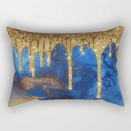 Gold Rain on Indigo Marble Rectangular Pillow