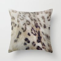 snow leopard Throw Pillows featuring Snow Leopard by Pauline Fowler ( Polly470 )