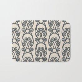 Crackled Scrolled Ikat Pattern - Cream Ink Black Bath Mat